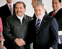 Ortega with Brazilian President Luiz Inácio Lula da Silva at Itamaraty Palace in Brasília, July 28, 2010.