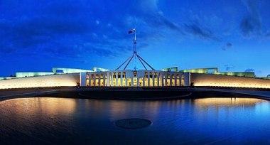 Parliament House Canberra Dusk Panorama.jpg