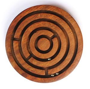 A simple wooden ball-in-a-maze