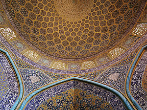 Interior wall and ceiling of the Sheikh-Lotf-A...