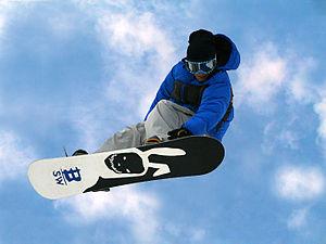 English: freestyle snowboarding