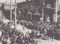 El 11º Ejército del Ejército Rojo entrando en Ereván en 1920.