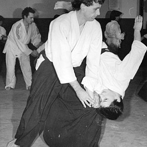 Shihoo nage, a aïkido technical falling, illus...