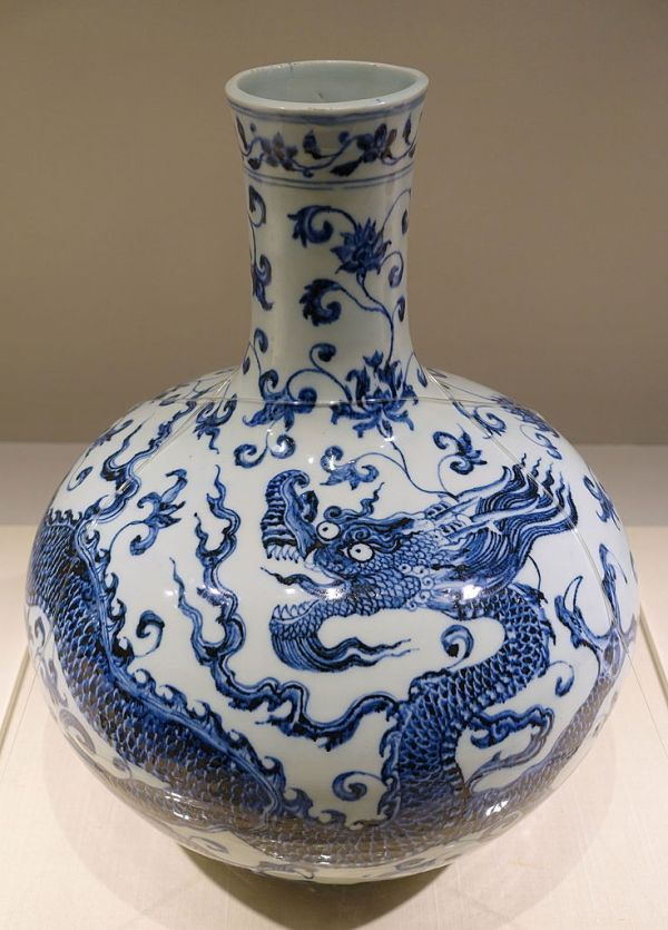 FileBottle jar with dragon and arabesque design China
