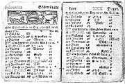 Swedish calendar showing St Valentine's Day, February 14, 1712