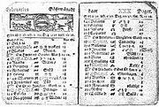 Swedish calendar showing St Valentine's Day, February 14, 1712