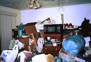 Photo of the living room of a compulsive hoarder