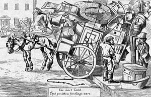 Cartoon depicting Moving Day (May 1) in New Yo...