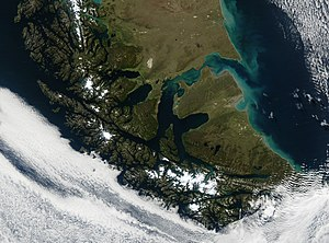 Satellite image of Tierra del Fuego