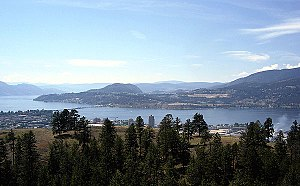 Okanagan Lake winds between Kelowna (foregroun...
