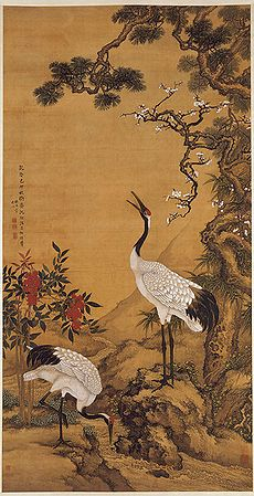 Pine, Plum and Cranes, 1759 AD, by Shen Quan (1682-1760). Hanging scroll, ink and colour on silk. The Palace Museum, Beijing.