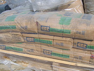A pallet of Portland cement bags used for cons...