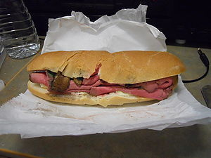 Roast beef grinder (served rare) with Munster ...