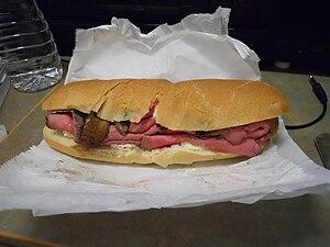 Roast beef grinder (served rare) with Munster ...