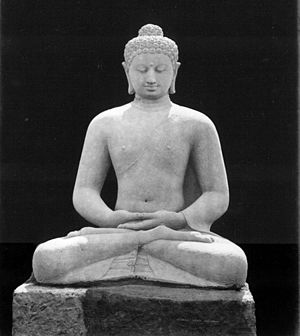 English: Seated Buddha Amitabha statue, west s...