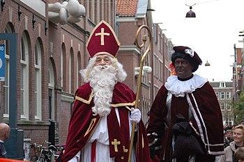 Portrait of Sinterklaas and Zwarte Piet.