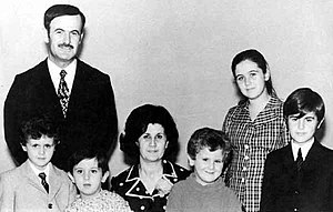 President Hafez al-Asad with his family in the...