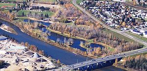 Aerial view of Bower Ponds area of Red Deer