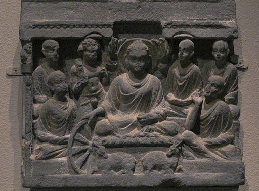 Buddha's first sermon at Sarnath. Gandhara.Met