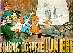 Affiche de publicité pour le Cinématographe Lumière