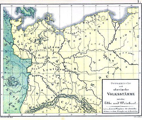 Tereny zamieszkane przez Słowian we wczesnym średniowieczu na niemieckiej mapie – widoczny przebieg Limes Sorabicus.