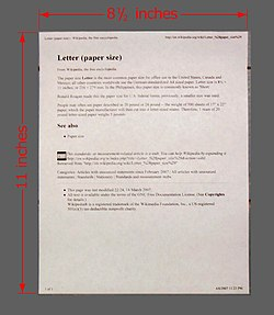 Letter  paper size    Wikipedia Letter  paper size