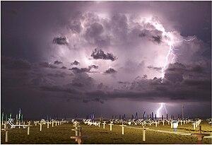 Lightning cloud to sea over Miramare di Rimini...