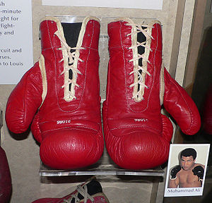 A pair of Muhammad Ali's boxing gloves, on dis...