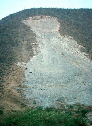 English: A rock landslide in Guerrero, Mexico....
