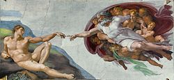 """Michelangelo's """"The Creation of Adam"""" on the Sistine Chapel ceiling"""
