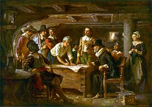 The Mayflower Compact, a painting by Jean Leon...