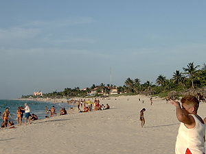 English: beach in Varadero, one of the most fa...