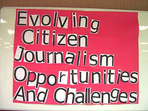 "A poster wrote with ""Evolving Citizen Jou..."