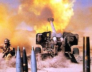firing 152 mm howitzer D-20 belong to Artiller...
