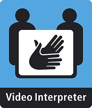 English: A Video Interpreter sign used at vide...
