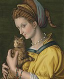 Bacchiacca - Portrait of a young lady holding a cat