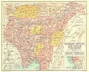 Map of Eastern Bengal and Assam Province, from...