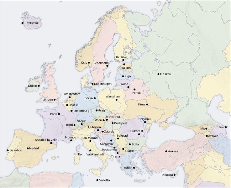 Europe capitals map d