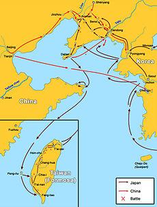 Chiến tranh Trung-Nhật thứ nhất, các trận và các lần di chuyển quân chính