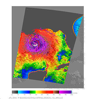 QuikSCAT image of Hurricane Katrina on August ...