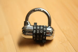 "A Master padlock with ""r00t"" as pass..."