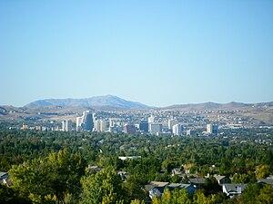 Skyline of Reno, Nevada. Camera is looking nor...