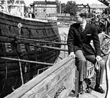 The 15-year-old Crown Prince of Sweden looks at the recently recovered 17th century warship Vasa in 1961.