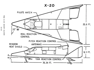 Orthographically projected diagram of the X-20.