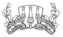 Sebuah gambar garis dari tiga meriam, dilihat dari atas, pada perisai, dikelilingi oleh sebuah gulungan dan dedaunan dekoratif