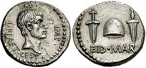 Denarius of L. Plaetorius Cestianus commemorat...