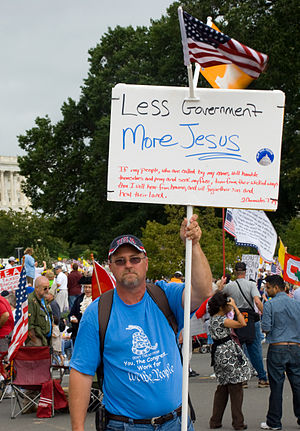 A member of the Christian right protesting at ...