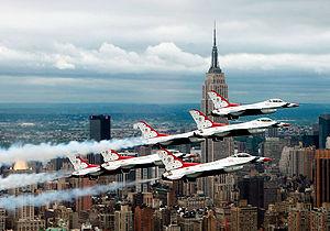 Six Thunderbird F-16s in delta formation flyin...