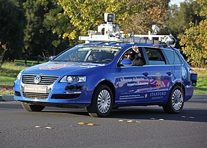 A robotic Volkswagen Passat shown at Stanford ...