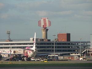 A radar tower at London Heathrow Airport